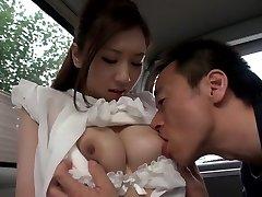 Exotic Japanese chick Arisa Aizawa in Horny big hooters, car JAV tweak