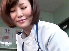 Subtitled CFNM Japanese damsel physician gives patient handjob