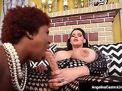 Hot Latina Plus-size Angelina Castro StrapOn Romps Ebony Maserati!