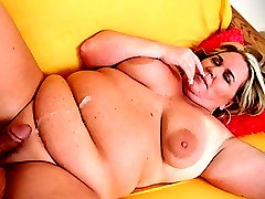 Hot blonde fatty having her huge jugs licked