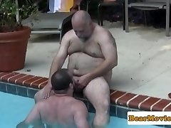 Polar wolf cocksucked in the pool