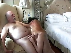 Sandy-haired t-model fucking with a old man