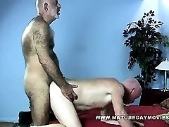 Skinny Hairy Daddy Fucks His Mature Friend