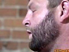 Muscled jock fucks rimmed otter balls deep
