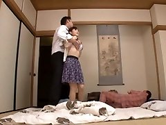 Housewife Yuu Kawakami Ravaged Stiff While Another Man Watches