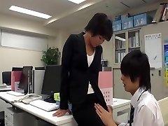 Office doll wank in office with co-worker