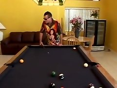 Asian drilled on pool table