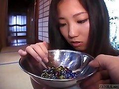 Subtitled Japanese CMNF college girl twenty marbles insertion