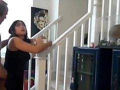 Round asian cousin fuck and creampie on the stairs