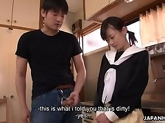 Chinese cuttie cleaning her stepbrother's erect dinky