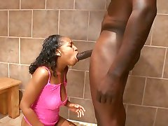Ebony tramp loves cock in her cunt