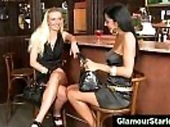 Steaming clothed lesbians get dirty