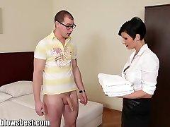 MommyBB Busty euro MILF Maid deep-throats the motel client