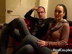 Kinky wifey in PVC with crossdressing hubby