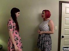 Lush redhead lady wears strapon to shag tranny Chelsea Poe