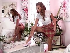 Stunning school teacher strips off and jacks in her nylons