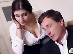 BUMS BUERO - Huge-boobed German secretary fucks manager at the office