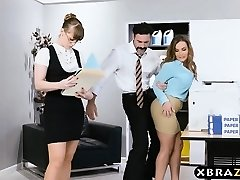 New big tits employee gets a good office initiation plow