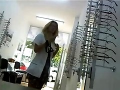 Optometrist flashing at work