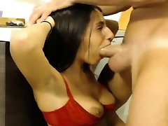 Hardcore chick deepthroats stiff cock