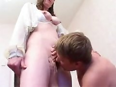 Russian mature housewife with young boy
