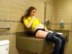 Masturbation in a public washroom