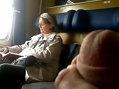 Train Hard-on display to Mature - with Cum