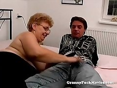 A good-sized granny has sex