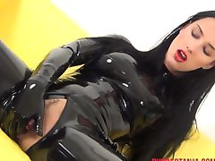 RUBBER GIRLS MASTURBATION, MASKED, CUFFED, BALL GAGGED STRAP-ON FUCK