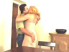 Sexy blonde mature in pantyhose loves man's milk