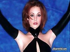 Hot sexy horny redhead babe gets bondage part2