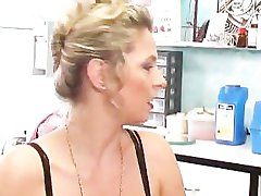 Bitch Dildos Her Ass At Piercing Parlor