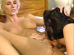 Blonde and brunette ass fucked then share mouthful of cum