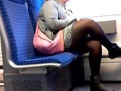 Mulher BBW com Nylon pernas sincero