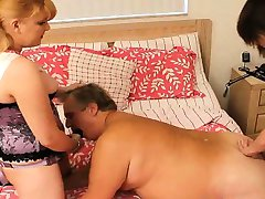 Fat Boy Pegged Hard By 2 Strap On Girls!