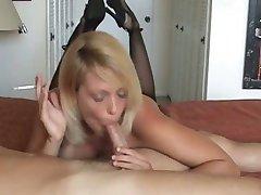 Hot Blonde Milf Smoke and gives hot Blowjob