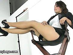 Hot brunette babe on high heels gets part6