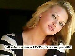 Svetlana cute blondie woman drinks cofee