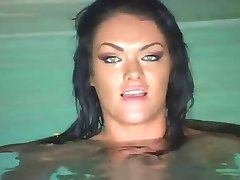 Real Hot Brunette In Pool Action