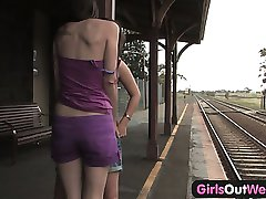 Girls Out West - Hairy and shaved lesbians at the station