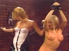 Blonde Lesbian Receives The Whip