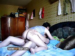 Russian amateur couple fucking at home