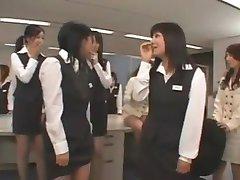 Asian CFNM guy wanks in office