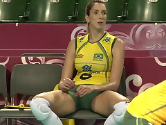 CLOSE UP SHOT DI GRANDE BRASILIANO SEXY SQUADRA DI PALLAVOLO