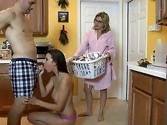 Daughter Sucking Cock in Kitchen
