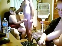 Spanish youthful and older threesome in kitchen - webcam