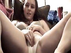 Beautiful girl likes tasting her own spunk in her undies