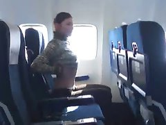 Brunette shows her boobs on plane