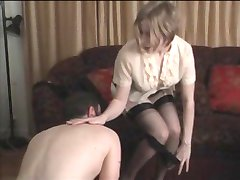 Panty boy ridiculed and punished