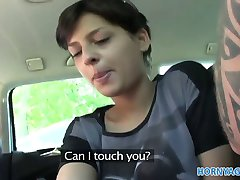 HornyAgent Hot short haired brunette fucked in a car
